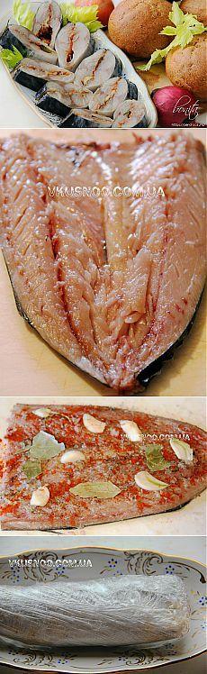 Пряно-соленая скумбрия, приготовленная с помощью морозильной камеры.