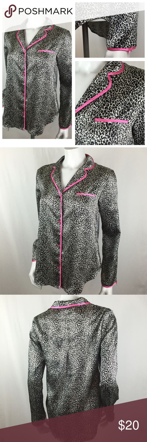Betsey Johnson Intimates Leopard Silky Sleep Shirt Ultra sleek Betsey Johnson Intimates Leopard Silky Sleep Shirt. Nice cheetah print with a cute pocket. Very soft and silky. Adorable heart shaped buttons down the front. Perfect with black leggings or shorts. Size medium in great condition. Betsey Johnson Intimates & Sleepwear Pajamas