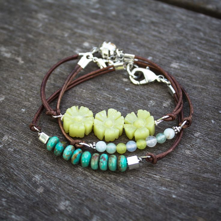 Leather wrap bracelets | This DIY has a great tutorial on how to make wire wrap loops. I used the tutorial to make these bracelets, and now I sell a version in my Etsy store at: BkyrdMiningJewelryCo.Etsy.com