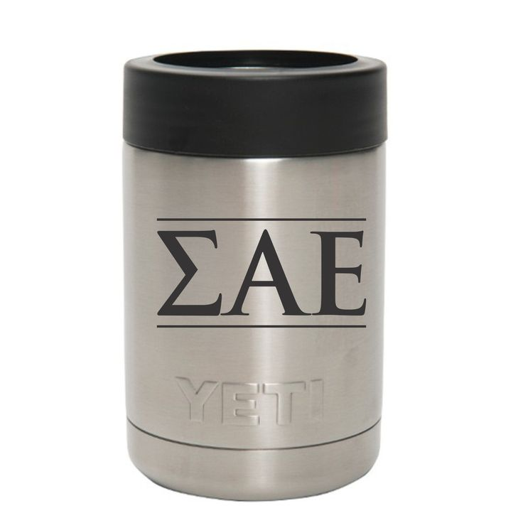 SAE Sigma Alpha Epsilon Greek letters on can and bottle holder
