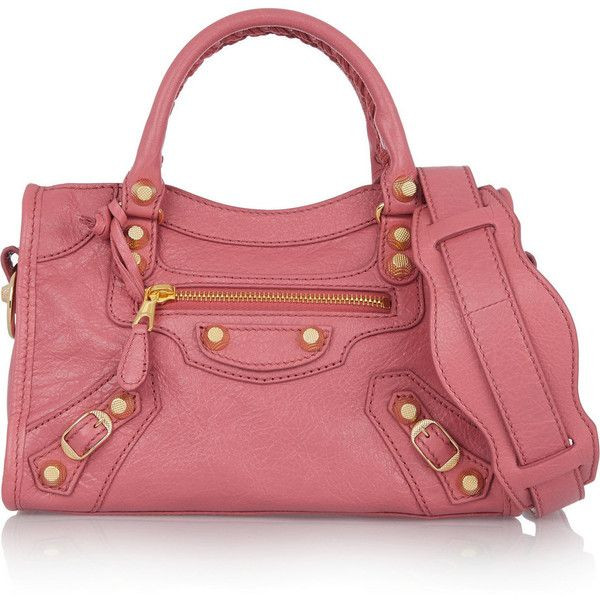 Balenciaga Giant 12 City mini textured-leather shoulder bag ($1,610) ❤ liked on Polyvore featuring bags, handbags, shoulder bags, balenciaga, pink, mini handbags, pink handbags, red handbags, balenciaga shoulder bag and red studded purse