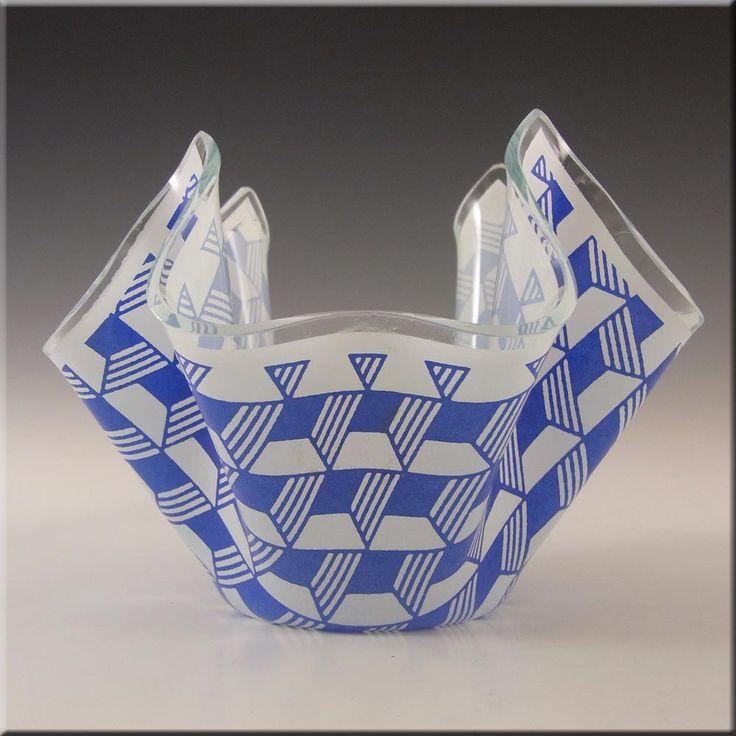 Chance Brothers Blue Glass 'Carré/Escher' Handkerchief Vase - £30.00