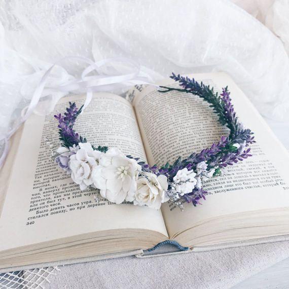 Lavendel bruiloft bruids floral kroon bruids bloem kroon