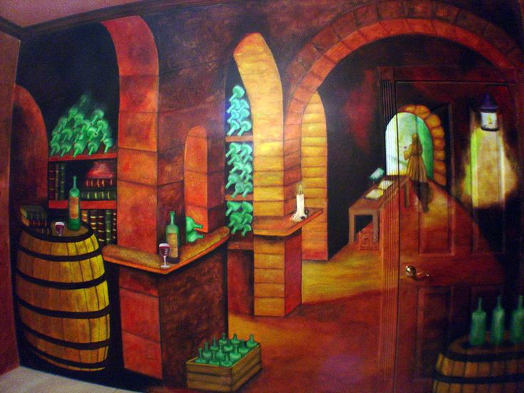 Mural en una pared de Cava o Wine Cellar