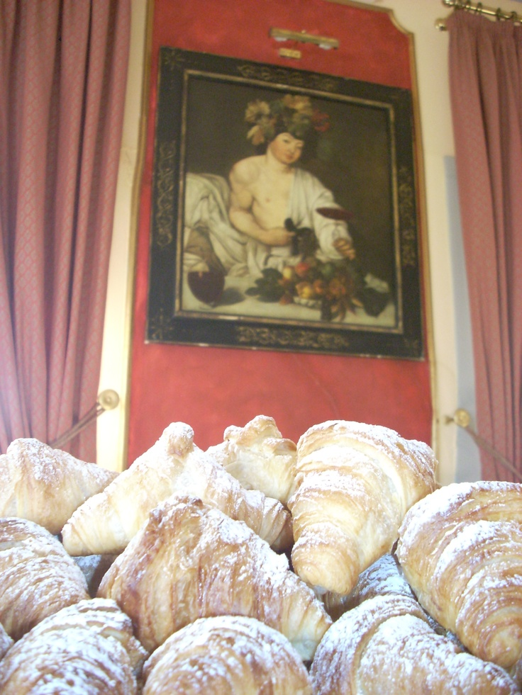 A mountain of freshly baked soft croissants! What is Bacco thinking about? LOL!