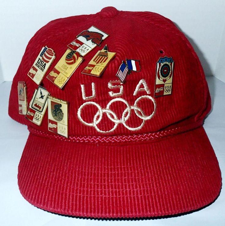 Team USA Olympics Red Corduroy Trucker Hat Cap Coca Cola 10 Pins Baseball Diving #Clutch #USA