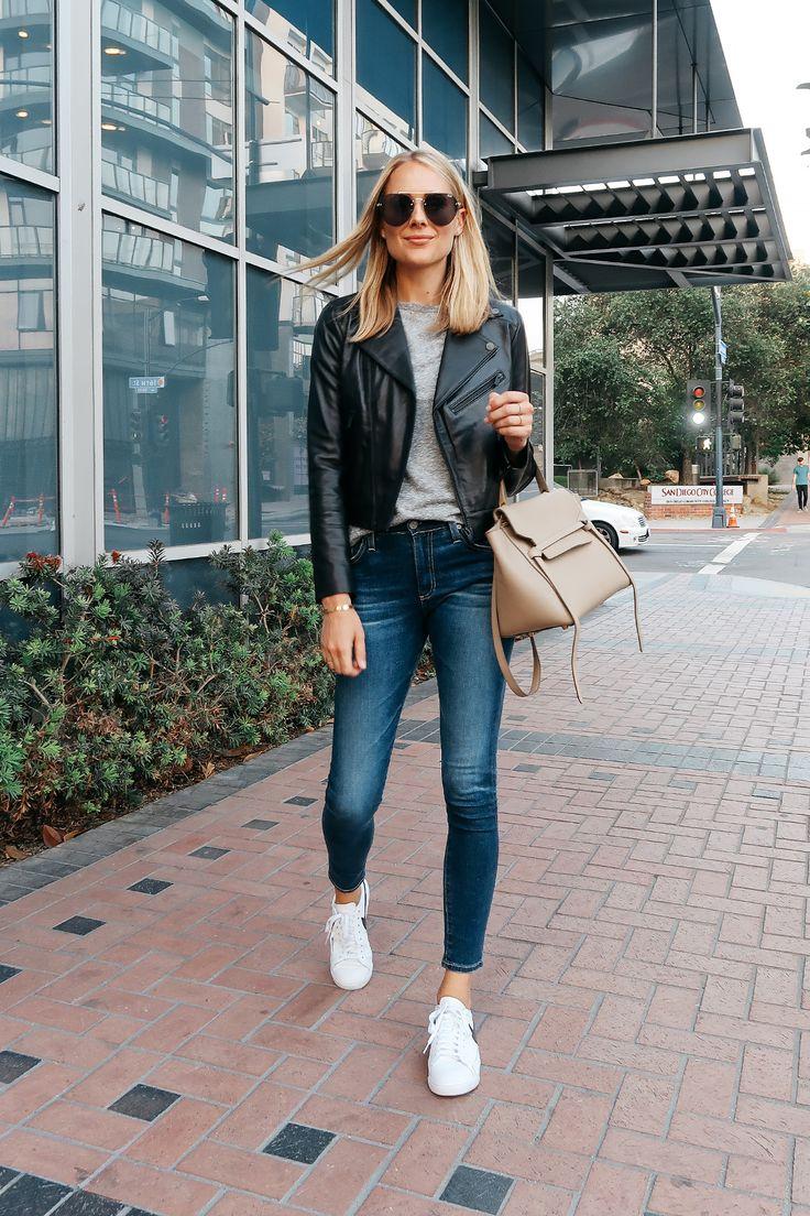 Blonde Woman Wearing Nordstrom Anniversray Sale Black Leather Jacket Grey Tshirt…