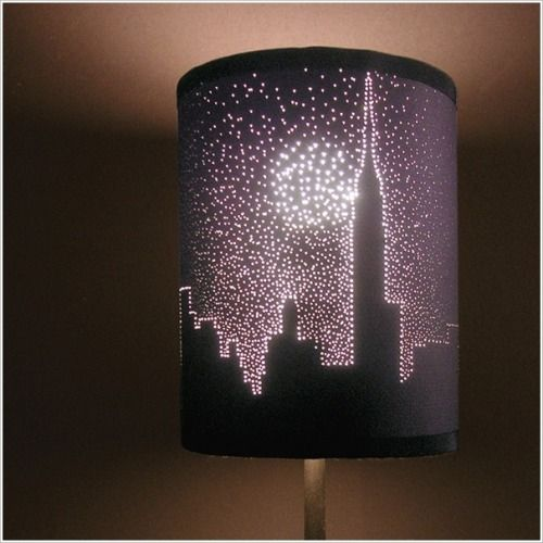 Make this nightscape with a lampshade a a few pin holes!