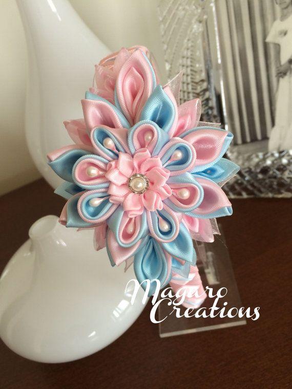 Blue/pink kanzashi headbandgirl headbandflower by MagaroCreations