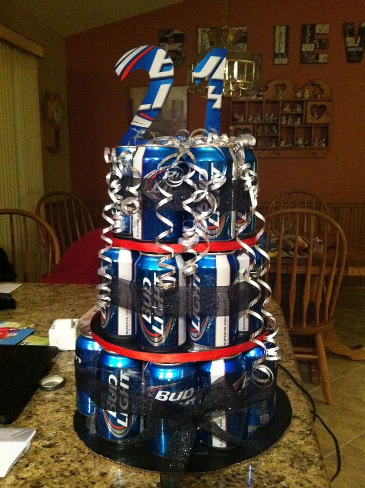 It Will Be Busch Instead Of Bud For Some Reason He Loves Hahah Birthday Beer21st Parties21 BirthdayBirthday IdeasBasket