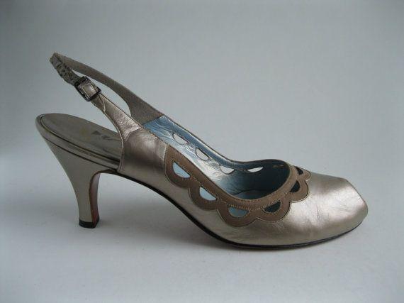 Vintage 1950s Peep Toe Shoes Neutral High Heel Bridal Wedding Fashions Size 7 on Etsy, £57.35