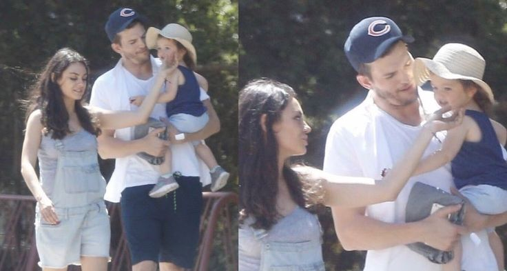 Mila Kunis Mila, Ashton and baby Wyatt. Out and about in their neighborhood ( Summer 2016 ) shared to groups 7/27/17
