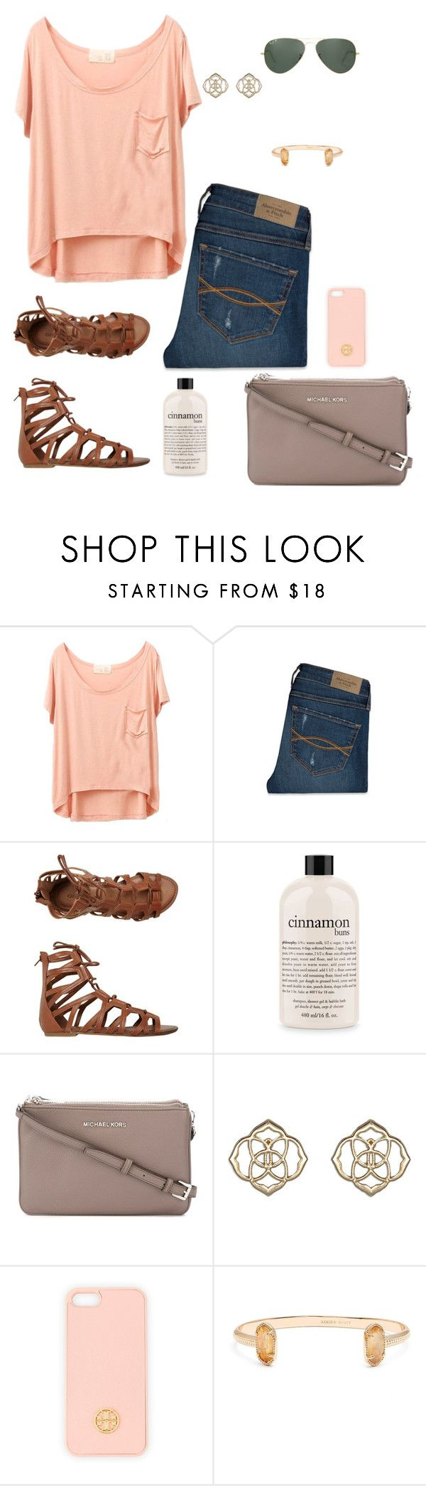 """""""Untitled #59"""" by annakhowton ❤ liked on Polyvore featuring Abercrombie & Fitch, O'Neill, philosophy, MICHAEL Michael Kors, Kendra Scott, Tory Burch and Ray-Ban"""