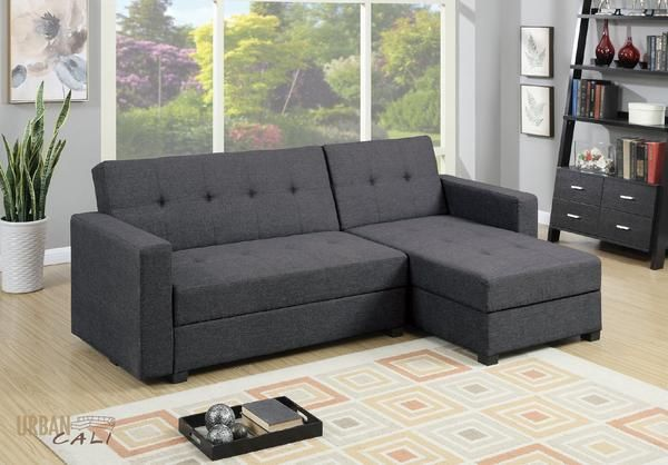 Monterey Small Sectional Sofa With Reversible Chaise In Grey Polyfiber Linen With Storage Sectional Sofa Small Sectional Sofa Sectional Sofa Sale
