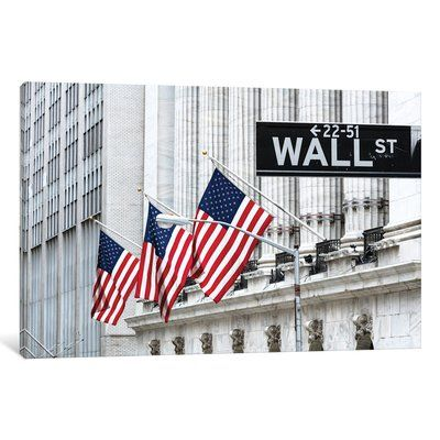 East Urban Home 'American Flags & Wall Street Signage, New York Stock Exchange, Financial District, Lower Manhattan, New York City, New York, USA' ...