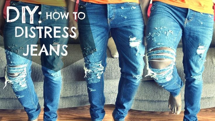 HOW TO:  DISTRESSED  Ripped JEANS EASY   DIY TUTORIAL  