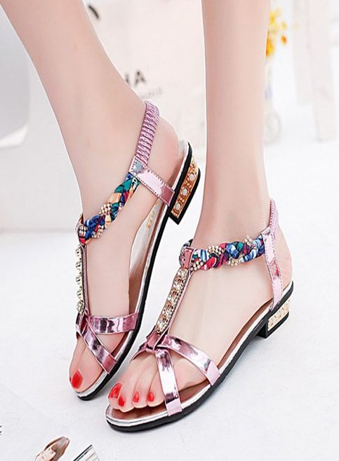 11cabb9e706195 Ladies fancy Sandals With Multi Color Strip
