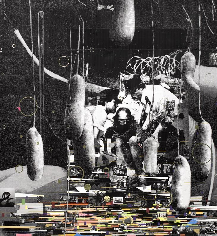 Kirstine Roepstorff  Eight Hanging (From the series'It's Not The Eye Of The Needle that Changed'  2007 Mixed media collage in two parts, various papers and foil mounted on wood panel 320 x 295 cm
