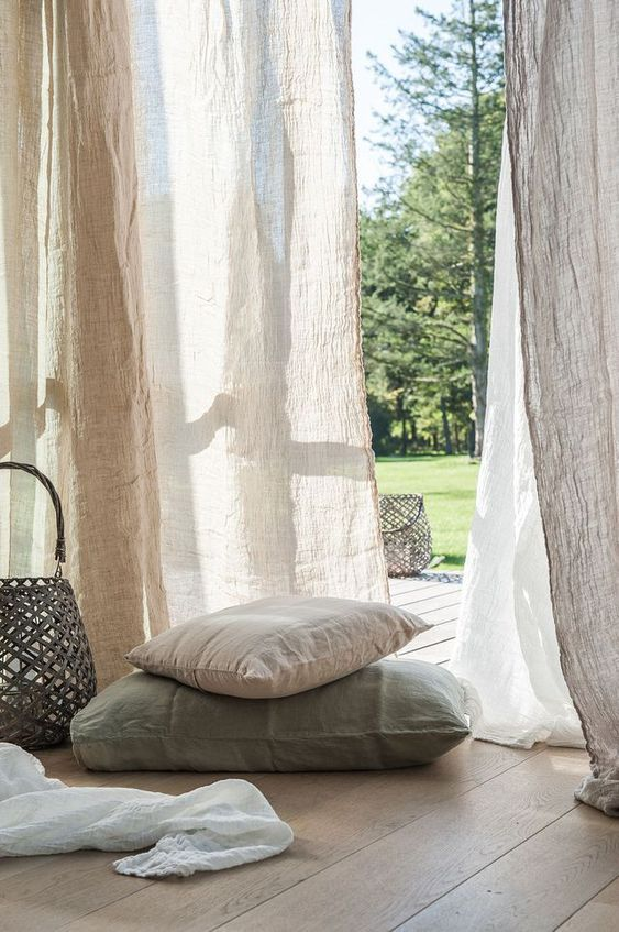 Textiles de lino Home Curtains, Linen Curtains, Drapery, Home Interior, Interior And Exterior, Interior Design, Estilo Navy, Window Dressings, Interior Inspiration