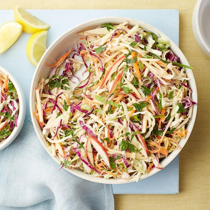 This lemony apple coleslaw is the perfect dish to bring along to any BBQ you're invited to this summer. It's easy to prep, takes no time to cook and will have your friends begging for the recipe. Be sure to tell them it's from Weight Watchers!
