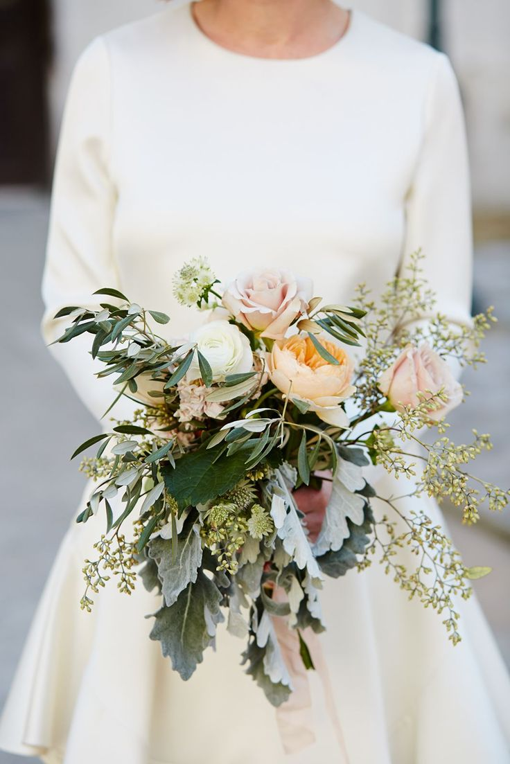 See 16 Adorable New York Couples Tie The Knot At City Hall #refinery29  http://www.refinery29.com/spring-city-hall-weddings-nyc#slide-6  The bride's bouquet has a vintage feel, no?