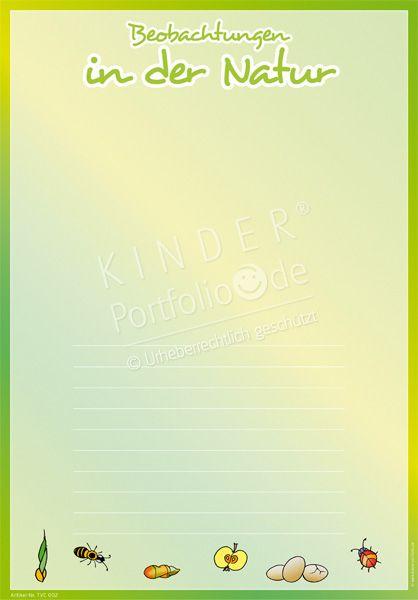 """Kindergarten Portfolio Vorlage """"Beobachtungen in der Natur"""""""