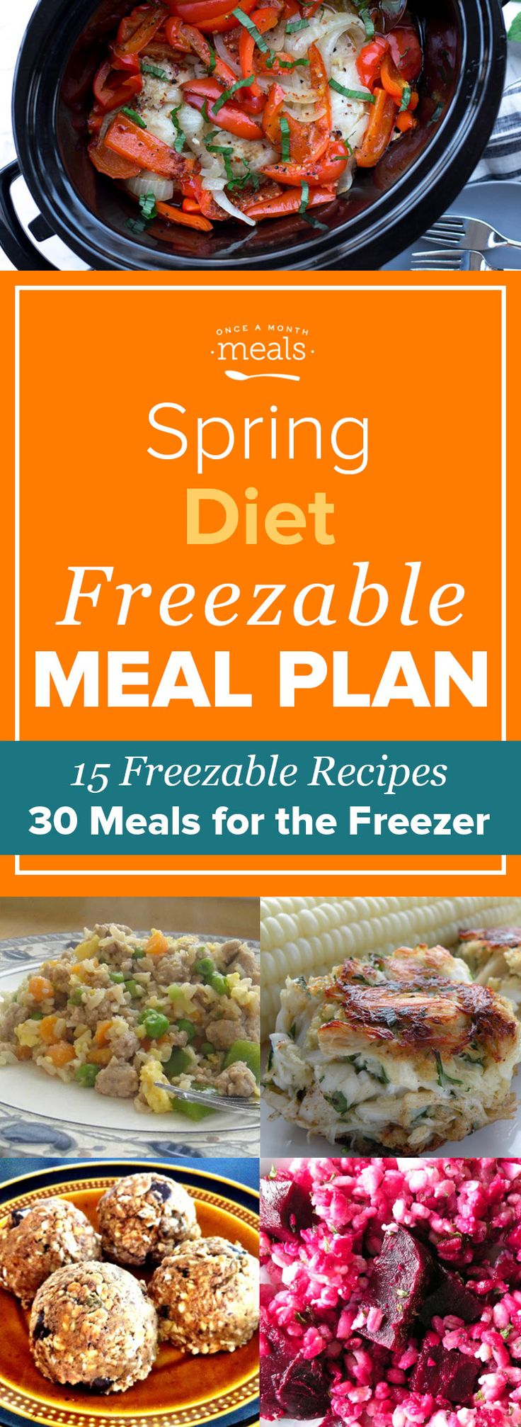 Take advantage of seasonal produce like beets, strawberries, and cherries as you meal plan with this Spring Diet Freezer Menu of freezable recipes! via @onceamonthmeals