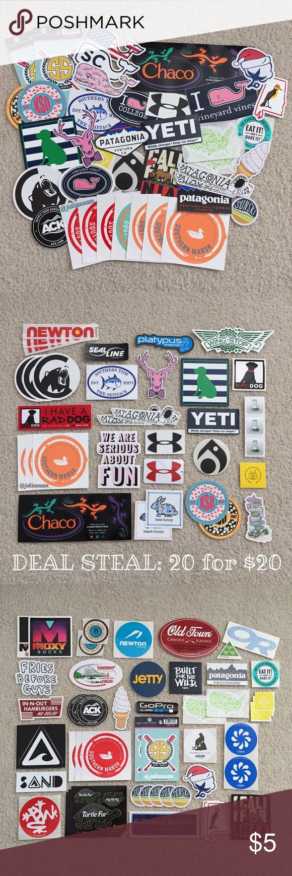 PREPPY STICKER BUNDLE (PRICE IS FOR 1 STICKER) SOLD OUT: Patagonia, Lokai, in n out, yeti, fries b4 guys Preppy stickers like Vineyard Vines & Chaco perfect for waterbottles, cars, laptops, etc. SOME STICKERS MAY COST $1 MORE BC OF BRAND 1 for $4 2 for $6 3 for $7 4 for $8 5 for $9 6 for $10 and so on 20 FOR $20 DEAL (LIMITED TIME) STICKERS IN THE 2-4 PICTURES ARE AVAILABLE. FIRST PICTURE AVAILABILITY VARIES! Comment stickers you want, & I'll make the listing! (: Can buy cheaper on Ⓜ...