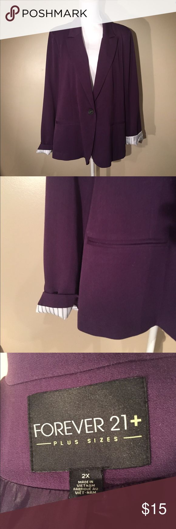 Purple blazer Beautiful dark purple color on this single button blazer. Sleeves roll up to show the striped lining inside of them. Forever 21 Jackets & Coats Blazers