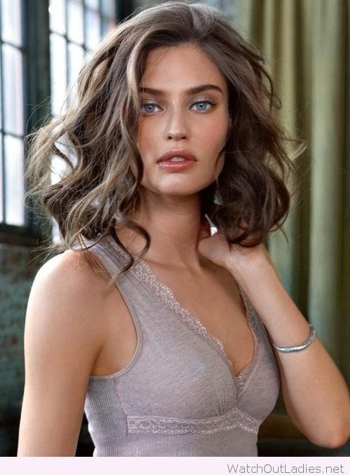 Lovely grey top with lace and soft brown hair color