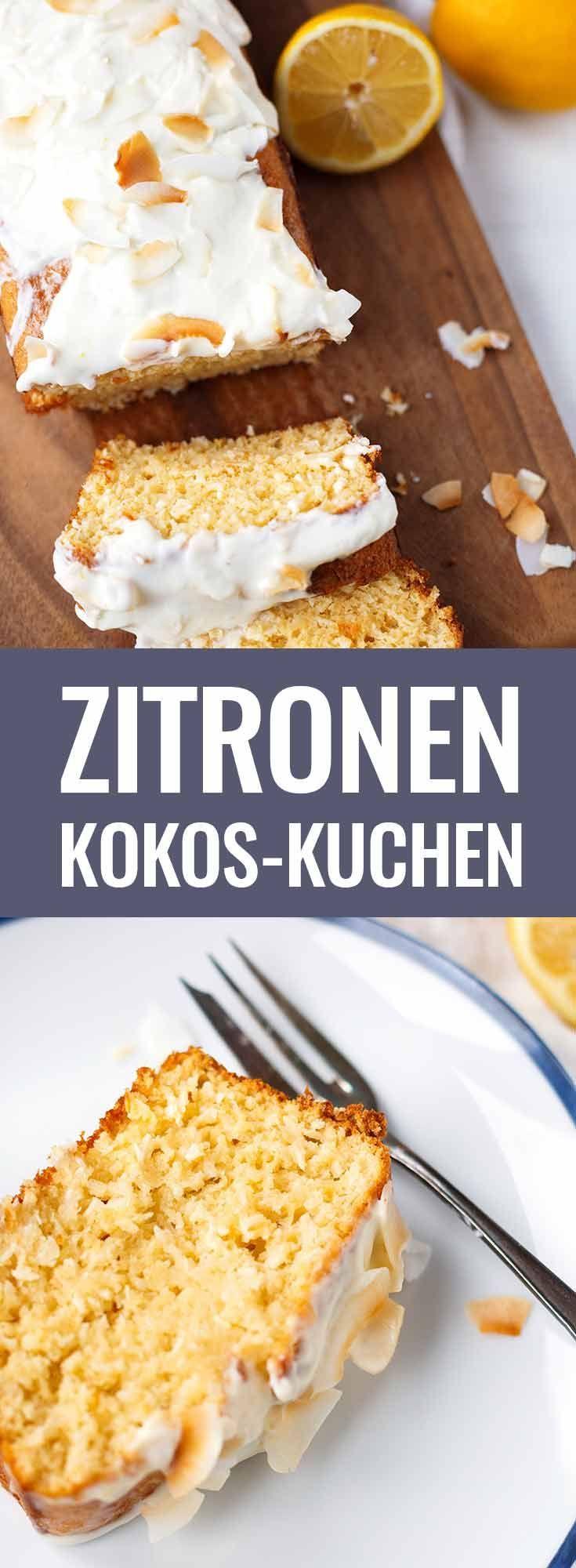 Zitronen-Kokos-Kuchen mit zitronigem Creme Fraiche-Topping