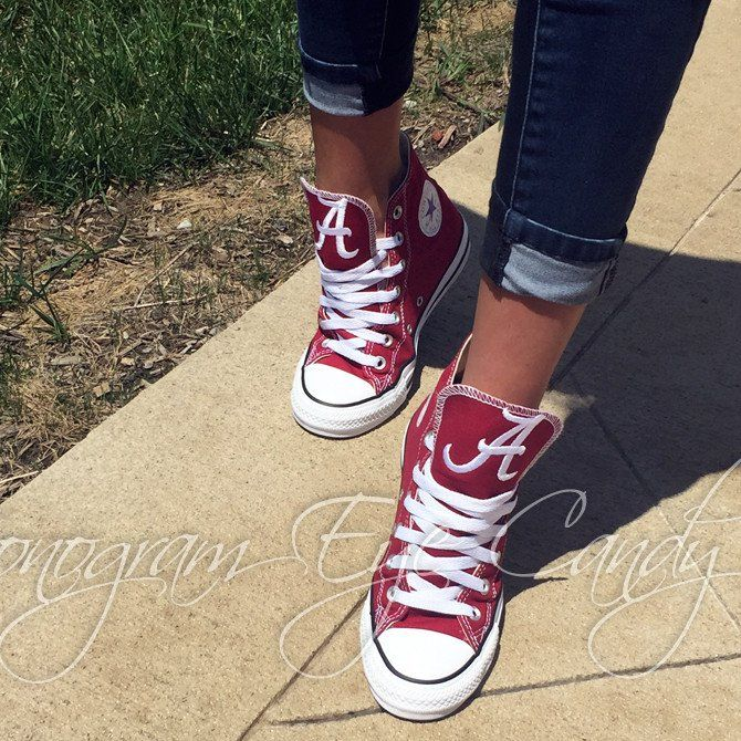 Customized Converse Sneakers- Alabama Edition (Red)