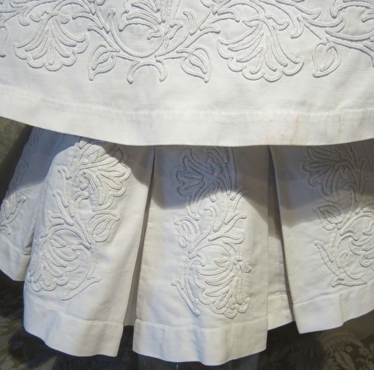 White Pique and Soutache Dress with Attached Cape For Large French from mllebereux on Ruby Lane