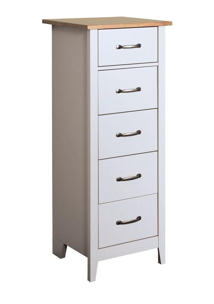 Best Steens Norfolk Solid Painted Grey Oak 5 Drawer Tall 640 x 480