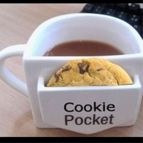 This would be perfect for me. I want one!Cookies Monsters, Cookies Cups, Christmas Presents, Coffe Cups, Cookies Pocket, Cute Ideas, To Funny, Coffee Cups, Hot Chocolates
