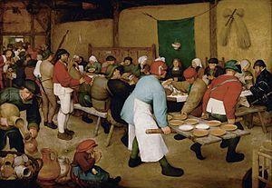 La boda campesina (en neerlandés, De Boerenbruiloft) es una pintura de Pieter Brueghel el Viejo, actualmente en el Museo de Historia del Arte de Viena, Austria. Se trata de un óleo sobre madera con unas dimensiones de 114 centímetros de alto y 164 de ancho. Fue ejecutada en el año 1568.  Índice  [mostrar]  Descripción[editar] Se trata de una de sus obras representando la vida campesina. La novia está debajo de un dosel y el novio no se sabe exactamente quién es, pero podría ser el hombre…
