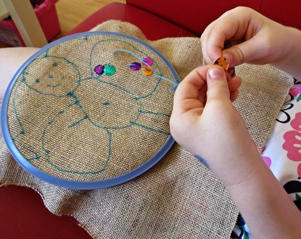Hand sewing project- beginning embroidery via Childhood 101