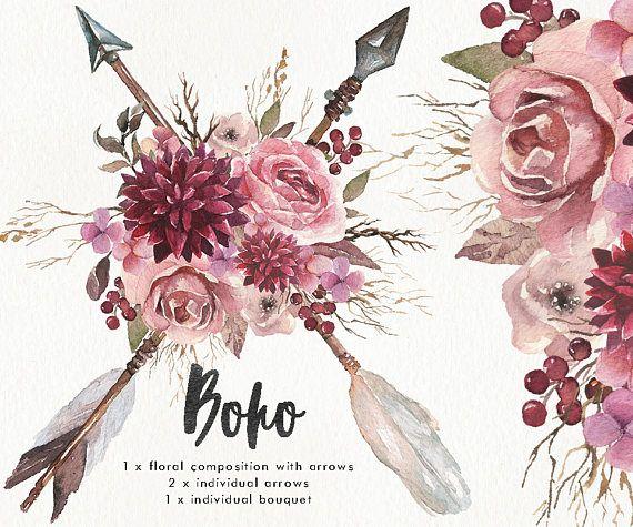 Watercolor Boho set wi...