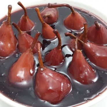 Red smothered desert pears