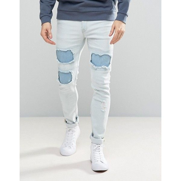 ASOS Super Skinny Jeans In Heavy Bleach With Mega Rip & Repair (€51) ❤ liked on Polyvore featuring men's fashion, men's clothing, men's jeans, blue, mens skinny fit jeans, mens blue ripped jeans, mens destroyed jeans, mens distressed skinny jeans and mens distressed jeans
