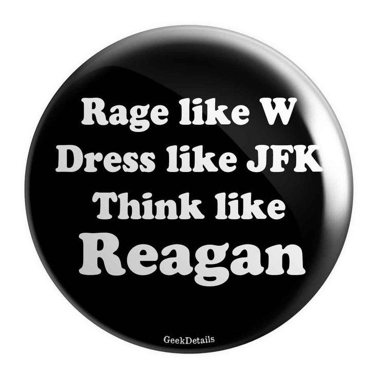 JFK Reagan W Pinback Button For Bag, T-Shirt, Jacket, Guitar Strap Trump Speech #GeekDetails