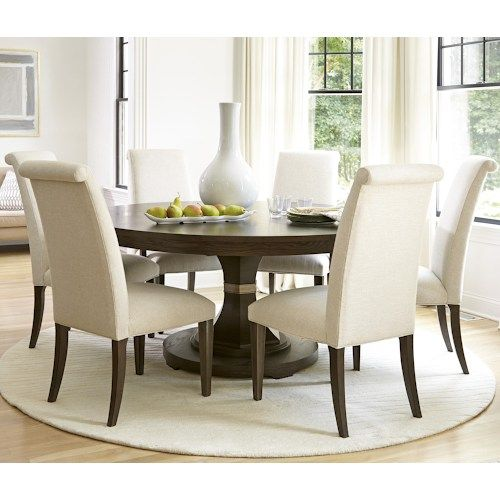 universal california hollywood hills 7 piece dining set with round table and upholstered chairs - Cheap Dining Room Sets