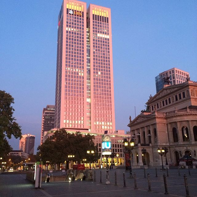 Opernplatz: another golden morning in the city.