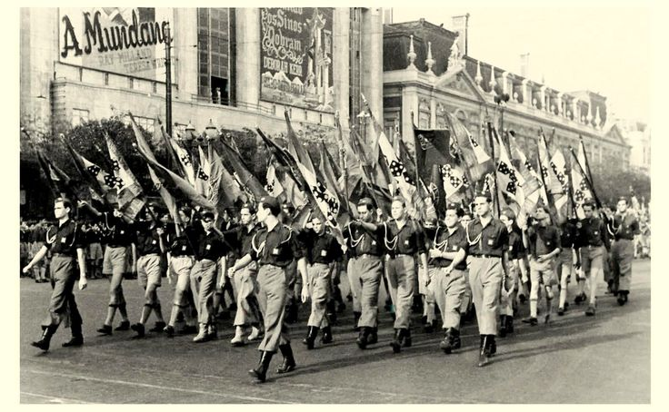 """""""Mocidade Portuguesa'"""" Portuguese Estado Novo paramilitary youth organization parades in Lisbon  - 1948"""