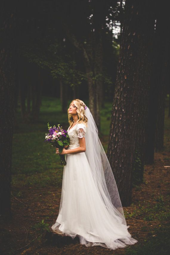 Modest soft tulle and ivory lace wedding dress FOR SALE