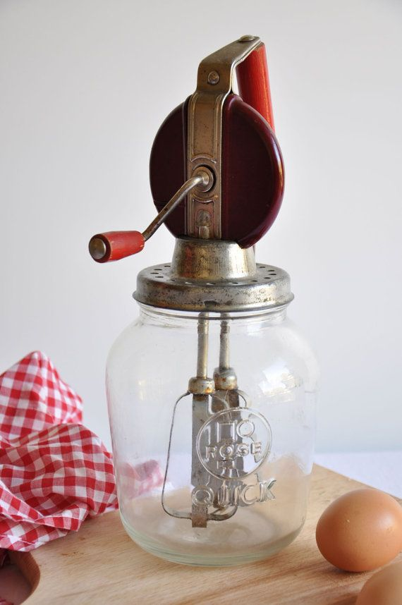 Vintage Egg Beater With Its Original Glass Jar by thelittlebiker