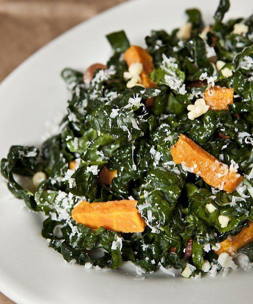 Northern Spy Food Co.'s wholesome, uncooked version has cheddar, almonds, roasted squash, pecorino, lemon juice, and olive oil, and will convert even the biggest kale-salad skeptics. Stomach grumbling yet? Make it at home. Source: Northern Spy Food Co.
