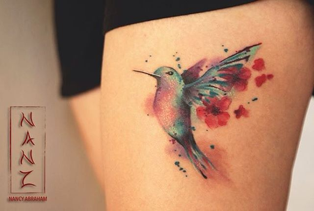 "220 Me gusta, 15 comentarios - Nancy Abraham Tattoos (@nancy_abraham_tattoos) en Instagram: ""Humming bird qith cherryblossoms by Nancy Abraham  Muchas gracias Martha por confiarme tu primer…"""