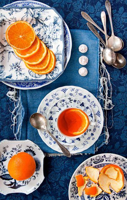 PRETTY Blue White Orange Color Scheme For The Dining Room