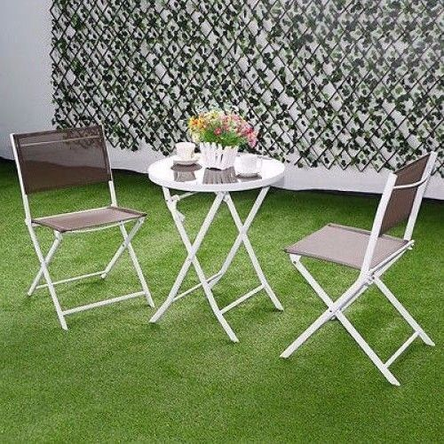 3pc Patio Table Chair Set Outdoor Garden Furniture Folding Brown Bistro Set   #3pcPatioTable